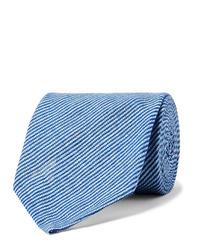 Rubinacci 8cm Pinstriped Linen Tie