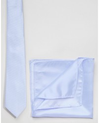 Asos Brand Wedding Tie And Pocket Square Pack In Soft Blue