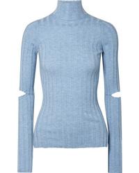 Helmut Lang Cutout Ribbed Wool Turtleneck Sweater