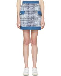 Light Blue Tweed Mini Skirt