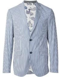 Light Blue Vertical Striped Blazer