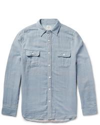 Light Blue Vertical Striped Chambray Long Sleeve Shirt