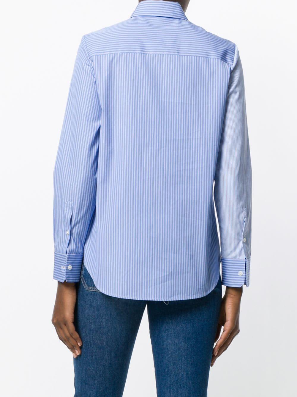 380f4a5d426 ... Light Blue Vertical Striped Dress Shirts Golden Goose Deluxe Brand Bi  Colour Stripe Asymmetric Shirt ...