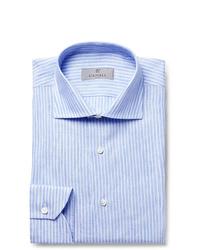 Canali Blue Slim Fit Pinstriped Linen Shirt