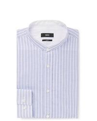 Hugo Boss Jowis Slim Fit Grandad Collar Striped Cotton And Linen Blend Shirt