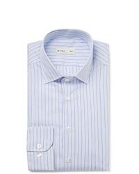 Etro Light Blue Slim Fit Striped Cotton Poplin Shirt
