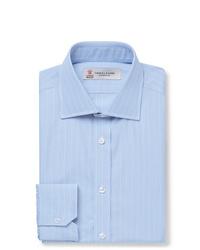 Turnbull & Asser Light Blue Slim Fit Striped Cotton Poplin Shirt