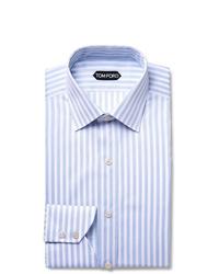 Tom Ford Light Blue Slim Fit Striped Cotton Shirt