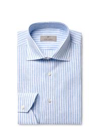 Canali Light Blue Slim Fit Striped Linen Shirt