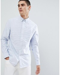 Calvin Klein Oxford Shirt In Blue Stripe With Pocket