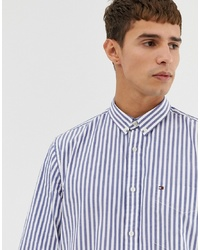Tommy Hilfiger Striped Oxford Shirt With Pique Flag Logo In Blue