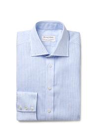 Kingsman Turnbull Asser Light Blue Striped Cutaway Collar Linen Shirt