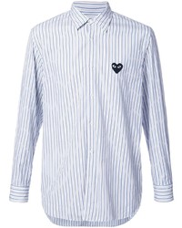 Comme Des Garcons Play Comme Des Garons Play Heart Logo Patch Striped Shirt