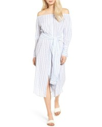Light Blue Vertical Striped Off Shoulder Dress