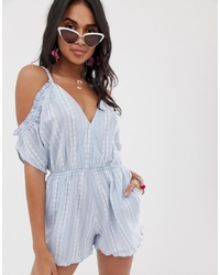 Accessorize Accesorize Cold Shoulder Embroidered Beach Playsuit In Blue