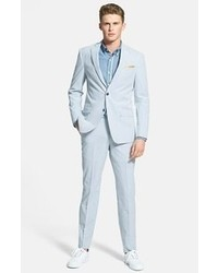 Michael Kors Michl Kors Trim Fit Seersucker Suit Blue White Stripe 44l