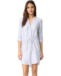 Light Blue Vertical Striped Shirtdress