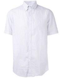 Light Blue Vertical Striped Short Sleeve Shirt