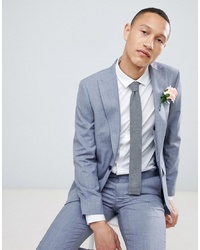 MOSS BROS Moss London Skinny Suit Jacket In Blue Wool Mix