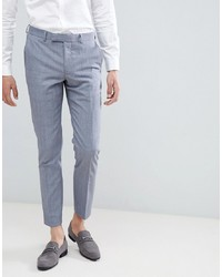 MOSS BROS Moss London Skinny Suit Trousers In Blue Wool Mix