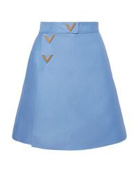 Light Blue Wool Mini Skirt