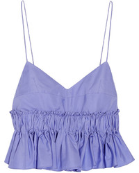 Tod's Cropped Cotton Poplin Peplum Top Lilac