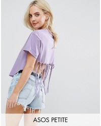 Asos Petite Petite Crop Top With Shredded Back