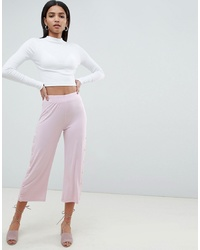 ASOS DESIGN Cropped Trousers With Popper Detail