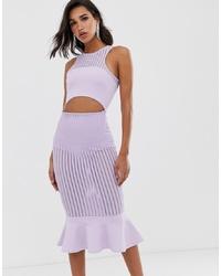 ASOS DESIGN Self Stripe Halter Midi Pep Hem Detail Midi Dress