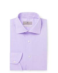 Canali Lilac Slim Fit Cotton Poplin Shirt