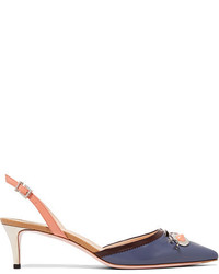 Fendi Face Embellished Leather Slingback Pumps Purple