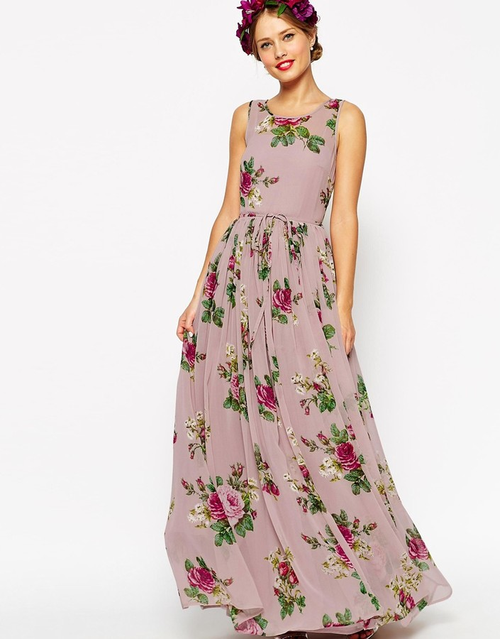 Asos ASOS WEDDING Lilac Floral Super Full Maxi Dress | Where to buy ...