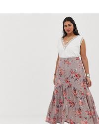 En Crème Plus En Creme Plus Maxi Skirt With Button Front Detail In Floral