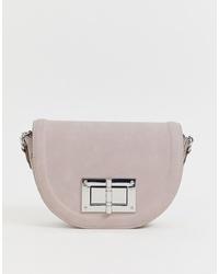 Lipsy Turn Lock Saddle Bag In Lilac