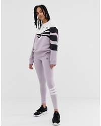 adidas Originals Linear Leggings In Lilac And White