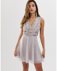 ASOS DESIGN Mini Dress With Pearl And Sequin Wrap Bodice