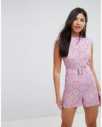 Asos Romper With High Neck And Belt In Retro Floral Print