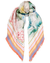 Printed silk twill scarf lilac medium 1196484