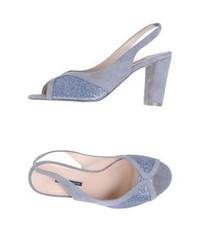 Light Violet Suede Heeled Sandals