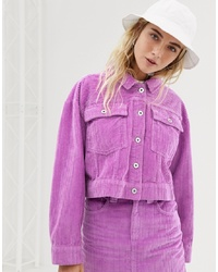 Collusion Cropped Jacket In Cord