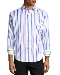 Light Violet Vertical Striped Long Sleeve Shirt
