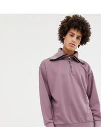 Noak Half Zip Funnel Neck Sweatshirt In Lilac