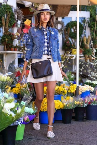 How to wear: white canvas espadrilles, white a-line skirt, navy and white gingham dress shirt, blue denim jacket