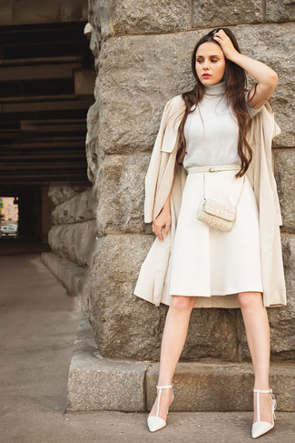 How to wear: white leather pumps, beige a-line skirt, beige turtleneck, beige trenchcoat