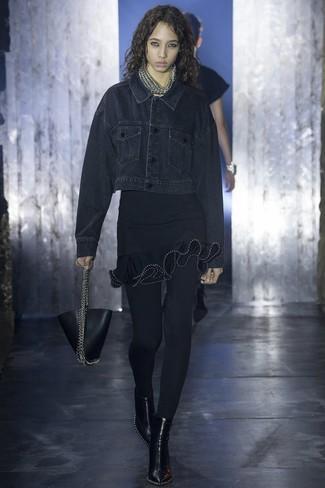 How to wear: black leather handbag, black leather ankle boots, black ruffle bodycon dress, black denim jacket