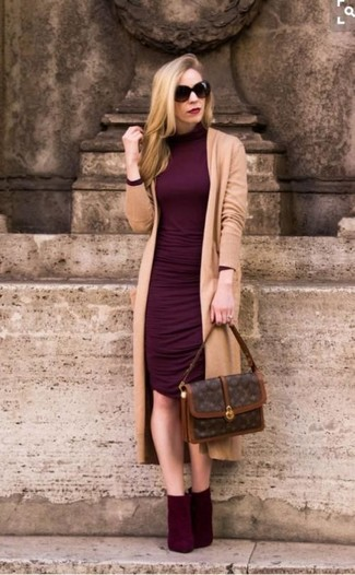 How to wear: dark brown print leather satchel bag, burgundy suede ankle boots, burgundy bodycon dress, tan long cardigan