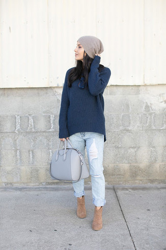 How to wear: grey leather tote bag, tan suede ankle boots, light blue ripped boyfriend jeans, navy knit turtleneck