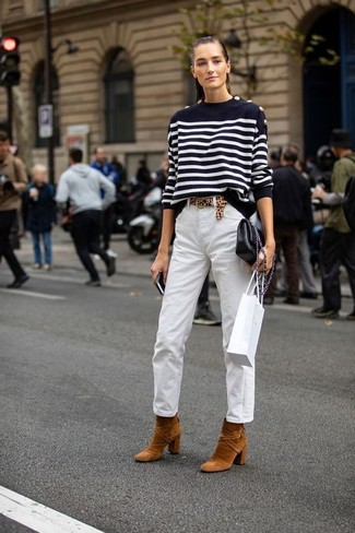 How to wear: black leather crossbody bag, tobacco suede ankle boots, white chinos, black and white horizontal striped crew-neck sweater
