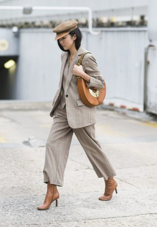 How to wear: tan leather crossbody bag, tan leather ankle boots, beige check culottes, beige check blazer