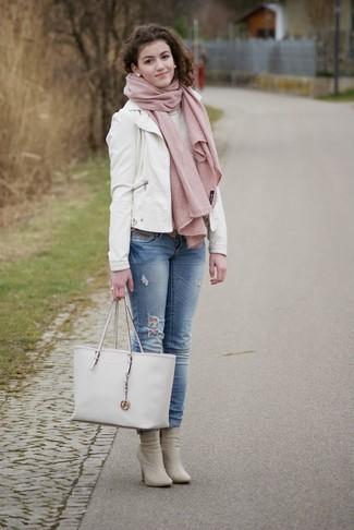de40568be124d8 ... Women s White Leather Tote Bag